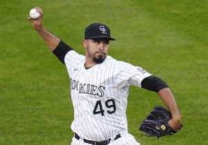 Colorado Rockies starting pitcher Antonio Senzatela throws to an Oakland Athletics batter during the first inning of a baseball game Tuesday, Sept. 15, 2020, in Denver.