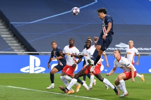 Champions League - Semi Final - RB Leipzig v Paris St Germain - Estadio da Luz, Lisbon, Portugal - August 18, 2020 Paris St Germain's Marquinhos scores their first goal, as play resumes behind closed doors following the outbreak of the coronavirus disease (COVID-19).