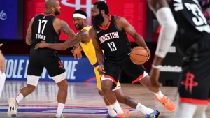 Harden's 39 help Rockets past short-handed Lakers