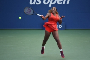 Sep 5, 2020; Flushing Meadows, New York, USA; Serena Williams of the United States hits a forehand against Sloane Stephens of the United States (not pictured) on day six of the 2020 U.S. Open tennis tournament at USTA Billie Jean King National Tennis Center.