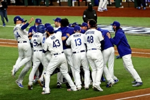 Oct 27, 2020; Arlington, Texas, USA; The Los Angeles Dodgers celebrate after beating the Tampa Bay Rays in game six of the 2020 World Series at Globe Life Field.