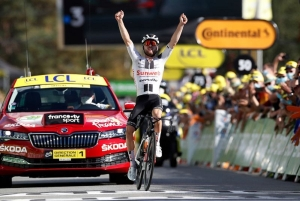 Tour de France - Stage 12 - Chauvigny to Sarran Correze - France - September 10, 2020. Team Sunweb rider Marc Hirschi of Switzerland wins the stage.