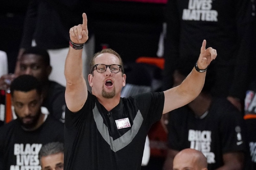 Toronto Raptors' head coach Nick Nurse directs his team during the first half of an NBA conference semifinal playoff basketball game with the Boston Celtics Monday, Sept. 7, 2020, in Lake Buena Vista, Fla.