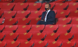 Premier League - Manchester United v Crystal Palace - Old Trafford, Manchester, Britain - September 19, 2020 Executive vice chairman Ed Woodward wearing a protective face mask in the stands during the match