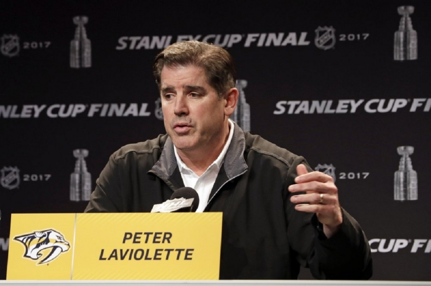 Nashville Predators head coach Peter Laviolette answers questions during a news conference Thursday, June 1, 2017, in Nashville, Tenn. The Washington Capitals hired Peter Laviolette, who won the Stanley Cup with the Carolina Hurricanes in 2006, as coach on Tuesday, Sept. 15, 2020.