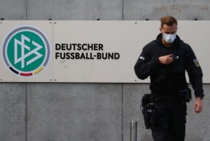 Police secures the area in front of the DFB headquarters as German prosecutors and tax authorities search offices of the German Football Association (DFB) as well as homes of current and former DFB officials on suspicion of tax evasion, in Frankfurt, Germany, October 7, 2020.
