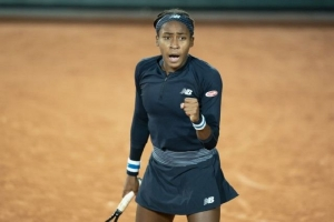 Sep 30, 2020; Paris, France; Coco Gauff (USA) reacts during her match against Martina Trevisan (ITA) on day four at Stade Roland Garros.