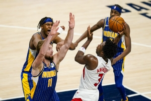 Toronto Raptors v Indiana Pacers: Anunoby's hot hand helps short-handed Raptors beat Pacers