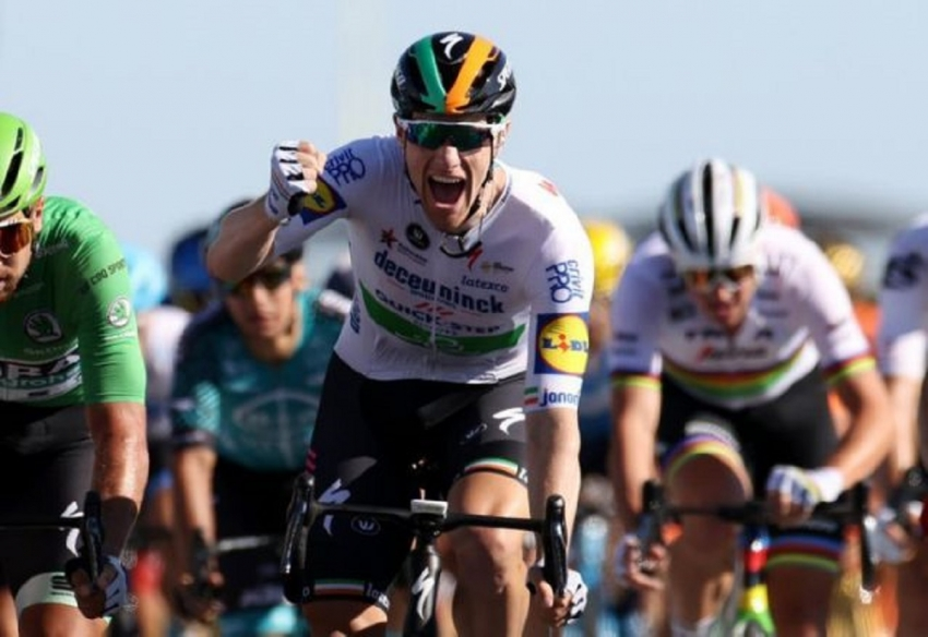 Tour de France - Stage 10 - Ile d'Oleron to Ile de Re - France - September 8, 2020. Deceuninck-Quick Step rider Sam Bennett of Ireland wins the stage.