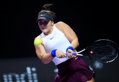 WTA Tour Finals - Shenzhen Bay Sports Center - Shenzhen, Guangdong province, China - October 30, 2019 Canada's Bianca Andreescu in action during her match against Czech Republic's Karolina Pliskova