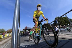Tour de France - Stage 19 - Bourg-en-Bresse to Champagnole - France - September 18, 2020. Team Jumbo-Visma rider Primoz Roglic of Slovenia, wearing the overall leader's yellow jersey, before the start.