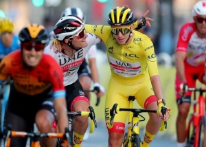 Tour de France - Stage 21 - Mantes-la-Jolie to Paris Champs-Elysees - France - September 20, 2020. UAE Team Emirates rider Tadej Pogacar of Slovenia, wearing the overall leader's yellow jersey, in action.