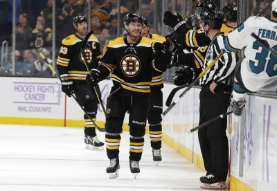 Krejci returns with goal, assist as Bruins beat Sharks