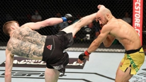 Cory Sandhagen rolled past Marlon Moraes with the ninth spinning-heel-kick finish in UFC history.